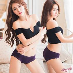 內褲 棉質蕾絲中低腰三角內褲(紫) Lorraine