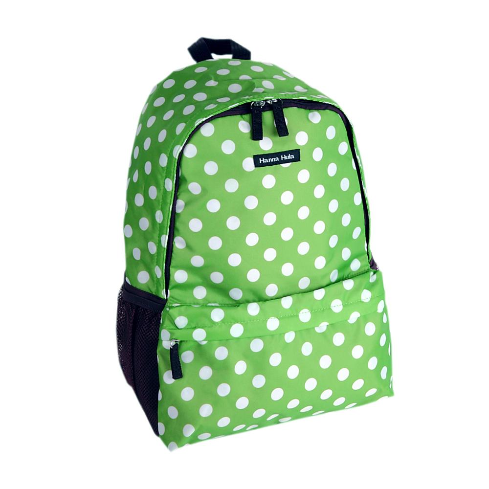 日本Hanna Hula-輕量型後背包-內襯防潑水(圓點綠)