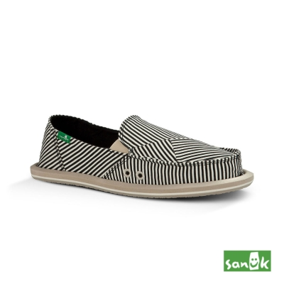 SANUK 不規則線條懶人鞋-女款(黑白色)