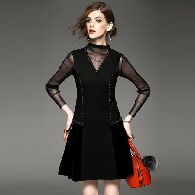 長袖透視上衣V領釘珠背心裙兩件套M-XL-M2M