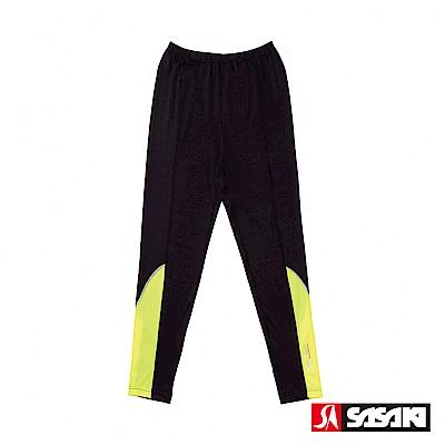 SASAKI 高彈力夜間反光功能田徑緊身長褲-男-黑/艷黃