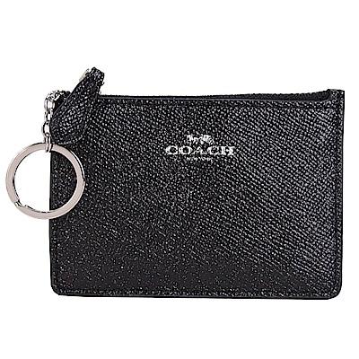 COACH 馬車珠光防刮皮革卡夾鑰匙零錢包(黑)