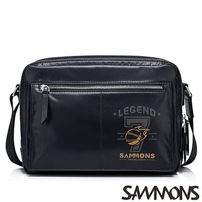 SAMMONS-艾力克尼龍休閒斜背包-百搭黑