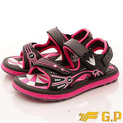 GP涼鞋-磁扣兩穿涼鞋-SE625B-49灰粉(中大童段)