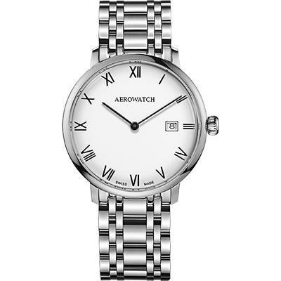AEROWATCH Heritage系列尊爵時尚石英腕錶-白x銀/40mm