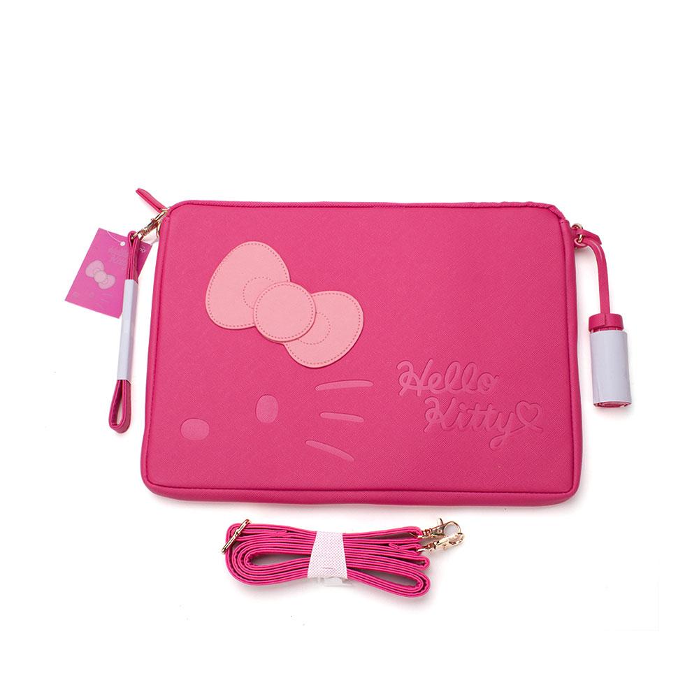 Sanrio HELLO KITTY立體蝴蝶結系列皮革扁平收納包附帶桃紅