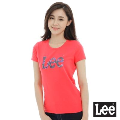 Lee 短袖T恤 宮貴花logo圖案印刷-女款-紅