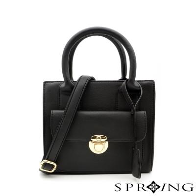 SPRING-金釦倫敦小方包-黑