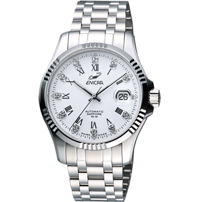 ENICAR 英納格 自動系列璀燦晶鑽機械腕錶-白/40mm