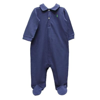 Ralph Lauren 經典刺繡POLO包腳連身衣-藍色(9M)