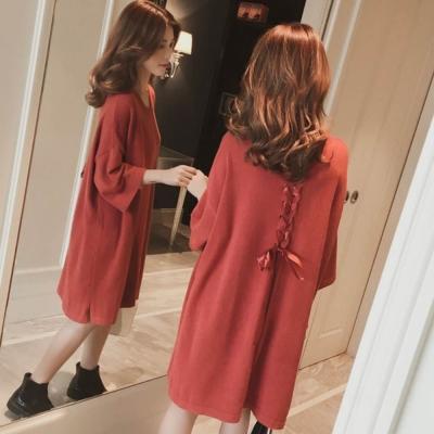 La Belleza背緞帶穿繩交叉混兔毛柔軟寬鬆針織洋裝