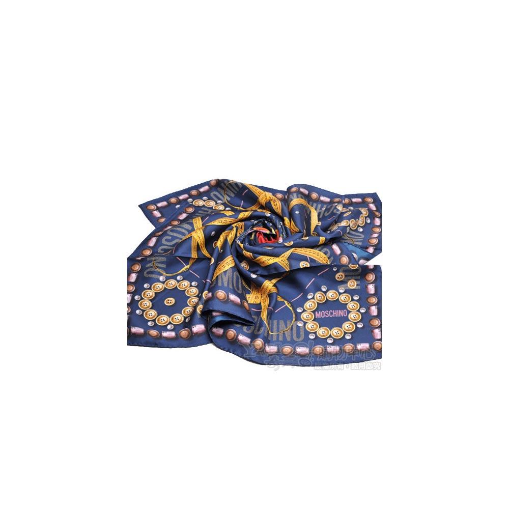 MOSCHINO 設計服裝元素圖騰大絲巾(藍)