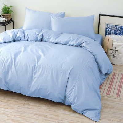 GOLDEN TIME 純色主義 200織紗精梳棉-薄被套床包組(水藍-特大)