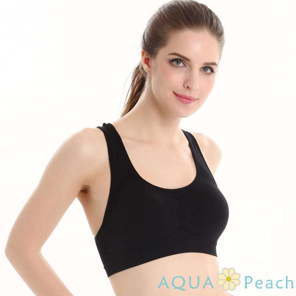 運動內衣 透氣網孔挖背式運動內衣 (黑色)-AQUA Peach