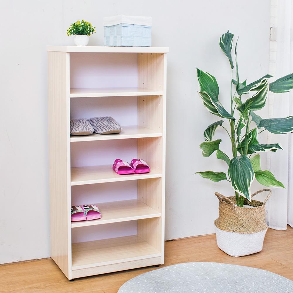 Birdie南亞塑鋼-1.6尺開放式五格收納櫃/置物櫃(白橡色)-49x33x100cm