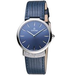 TITONI MADEMOISELLE優雅伊人系列皮革腕錶-靛藍色/32mm