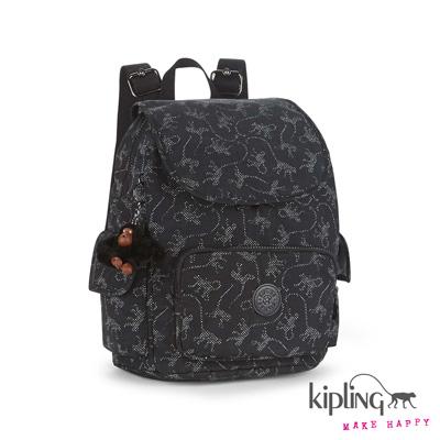 Kipling-後背包-經典猴紋編織印花