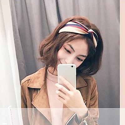 梨花HaNA 韓國冷淡風文青撞色條紋交叉髮帶