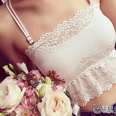 蕾絲罩杯式可拆式細肩帶交叉小可愛 二色-mini嚴選