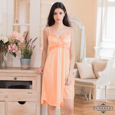 大尺碼Annabery甜美粉橘色柔緞蕾絲性感睡衣 粉紅 L-2L Annabery