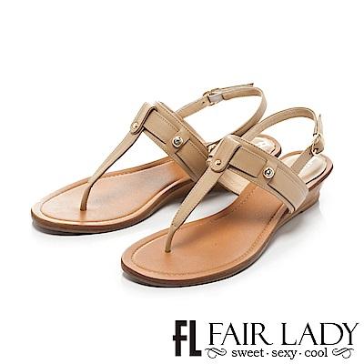 Fair Lady 簡約魅力皮革T字夾腳坡跟涼鞋 卡其