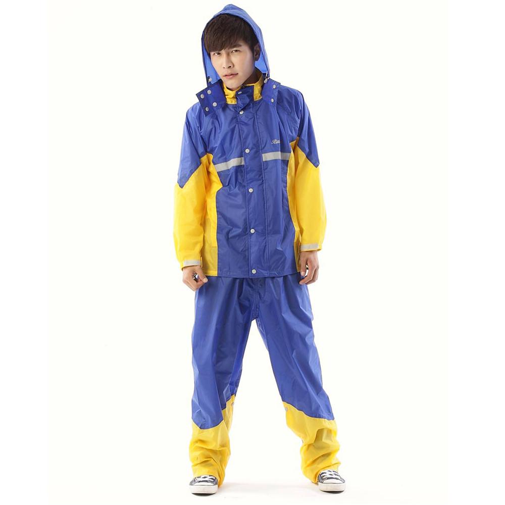 RainX兩件式透氣防風雨衣(藍黃)