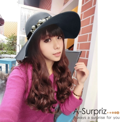 A-Surpriz 珍珠花朵寬版毛呢圓頂帽(灰)