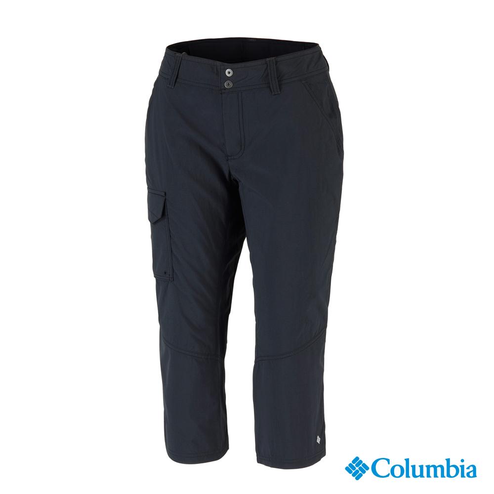 【Columbia哥倫比亞】女-快排防曬50七分褲-黑色 UAR80090BK