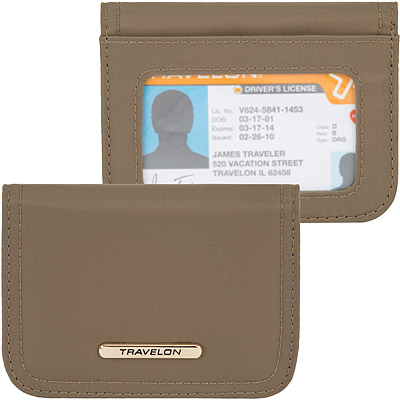 TRAVELON Tailored扣式防護卡片證件夾(棕)