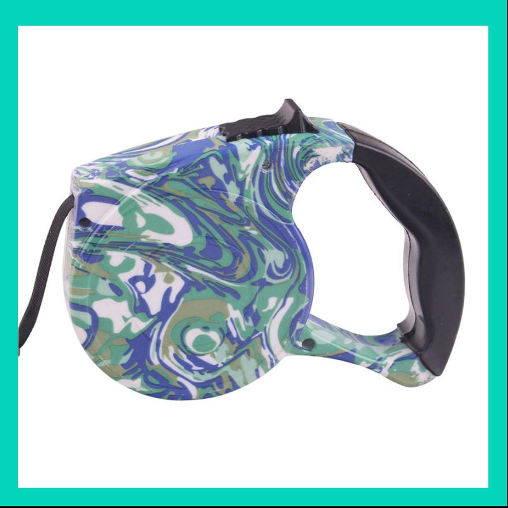 摩達客 輕巧印花紋系列寵物自動伸縮牽繩(藍迷彩 /5米長 /15KG以下適用)