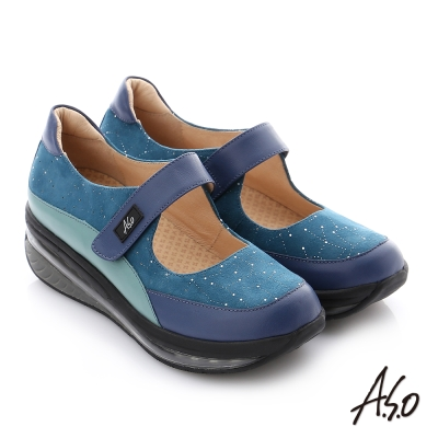 A.S.O 活力微笑 全真皮撞色魔鬼氈彈力休閒鞋 藍色