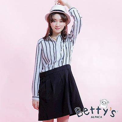 betty's貝蒂思 半開襟剪接直條紋雪紡洋裝(白色)