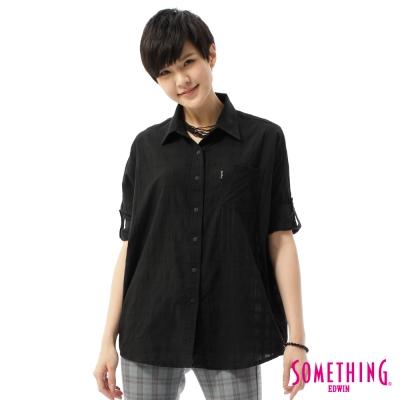 SOMETHING 襯衫 格紋寬鬆襯衫-女-黑色