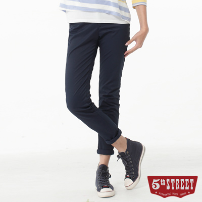 5th STREET 取線修身顯瘦休閒色褲-女-黑藍