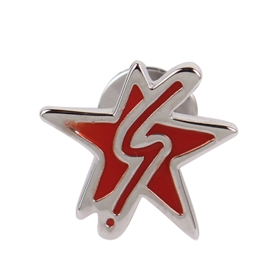 agnes b. b logo&星星穿式耳環-銀邊紅色(單隻)