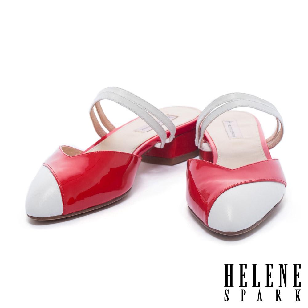 拖鞋 HELENE SPARK 復古撞色異材質拼接尖頭繫帶低跟拖鞋-紅