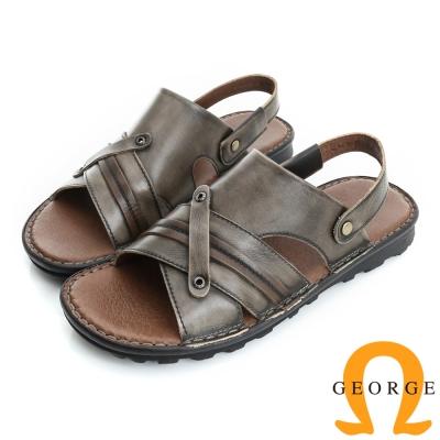 GEORGE 喬治-氣墊系列 可調式後帶真皮涼拖鞋(男)-灰色