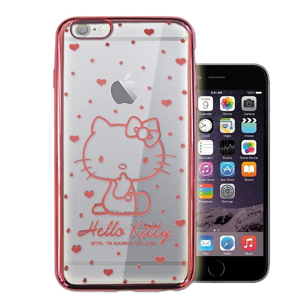 三麗鷗Hello Kitty iPhone 6s/6 4.7吋 雷雕電鍍手機殼(愛心-粉)
