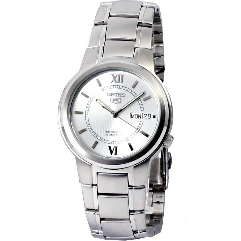SEIKO 盾牌5號都會羅馬機械腕錶(SNKA19K1)-銀白/40mm