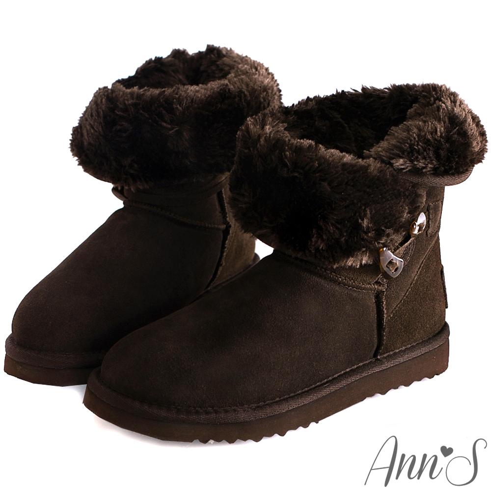 Ann'S甜蜜學院風-毛茸茸2way牛角釦雪靴 咖