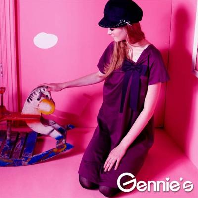 Gennie's奇妮- 禮服風格褶飾蝴蝶結孕婦洋裝(G1Y06)