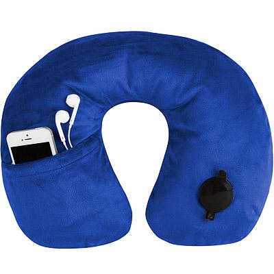 TRAVELON 絨布音樂護頸充氣枕(藍)