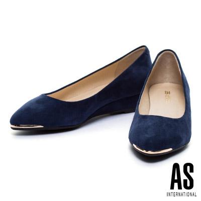 楔型鞋-AS-金屬風羊麂皮尖頭楔型鞋-藍