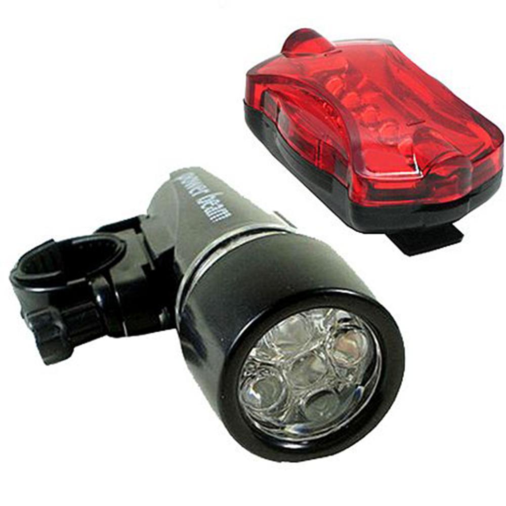 超亮5LED超白光晶鑽貓眼自行車頭燈7段尾燈組(2748)