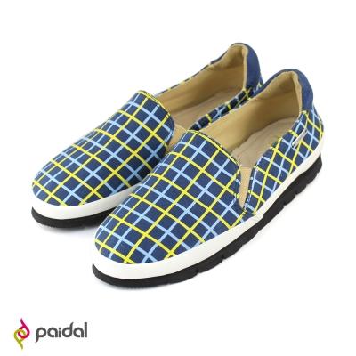Paidal魔力格紋休閒鞋樂福鞋-黃藍格