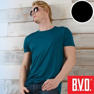 BVD 沁涼舒適酷涼 圓領短袖衫(黑色2入組)-台灣製造