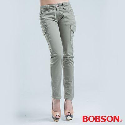 BOBSON 側貼袋.小直筒色褲-淺綠