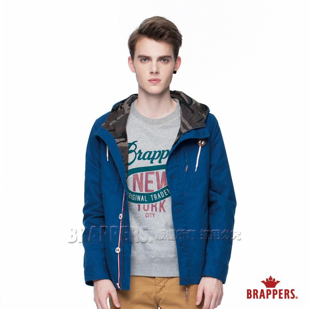 BRAPPERS 男款 男用水洗薄風衣連帽外套-寶藍