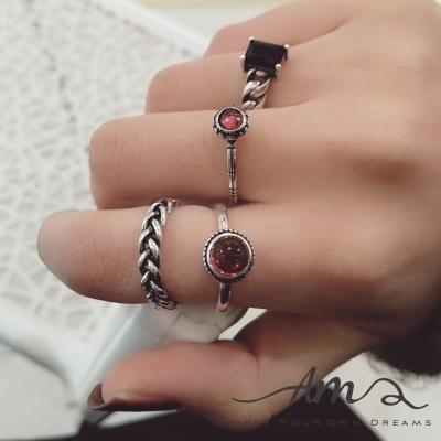 AM輕飾品 小紅珠子復古純銀戒指 開口戒 活圍戒