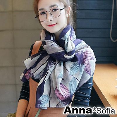 【2件450】AnnaSofia 花綻絮葉 拷克邊韓國棉圍巾披肩(紫色系)